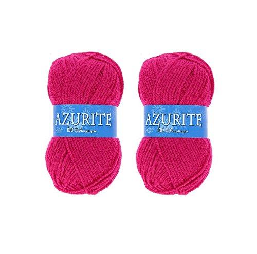Lot 2 Pelote de laine Azurite 100% Acrylique Tricot Crochet Tricoter - Rose - 3019