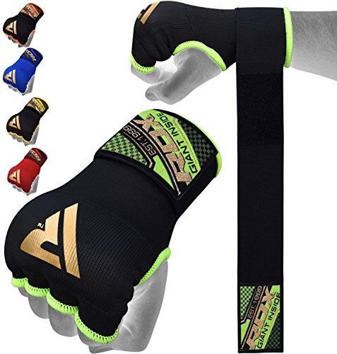 RDX 0 Boxen Elastisch Innenhandschuhe MMA Boxbandagen Daumenschlaufe, Verde, Medium