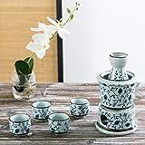7-Piece Blue Floral Design White Ceramic Japanese Hot Sake Set with Warmer, 4 Cups, Carafe & Heating Pot
