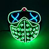LED Watch Dogs Wrench Mask with Rivet EL Wire Light Up Death Ghost Grimace Glow in the Dark Cold Light Cosplay Hacker Mask