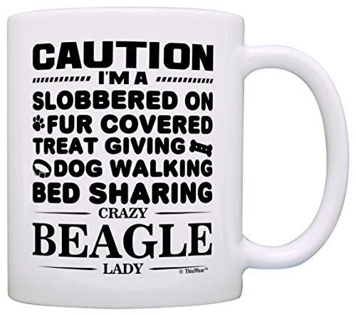 Dog Lover Gifts for Women Crazy Beagle Lady Dog Mom Dog Owner Gift Coffee Mug Tea Cup White