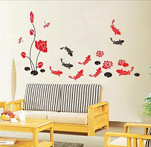 Zwyluck Muurstickers, Chinese lotusvis, glasplaat, tv-achtergrond, decoratief, muurstickers, tent, muurschild, 106 x 52 cm