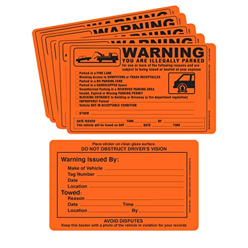 Parking Violation Sticker - Vehicle Illegally Parked Tow Notice - Parking Violation Notice - No Parking Warning Stickers - 5.5 x 7.5 Hard to Remove Stickers - Pack of 50 (Orange)