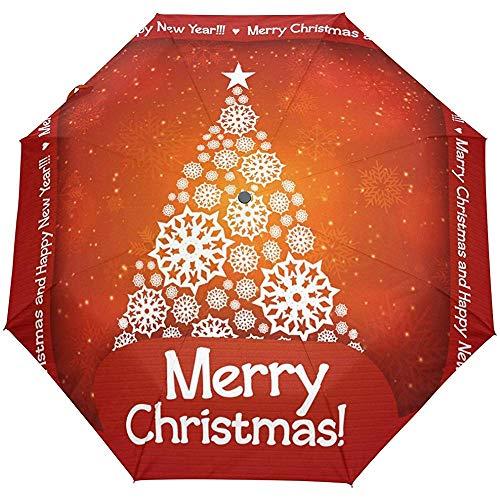 Frohe Weihnacht-Baum-roter Auto-naher Sun-Regen-Regenschirm