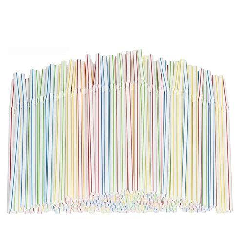 400 pajitas desechables de plástico extra largas y flexibles, para fiestas, bares,...