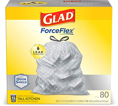 Glad ForceFlex Tall Kitchen Drawstring Trash Bags 13 Gallon Grey Trash Bag, Unscented 80 Count (Package May Vary) 9