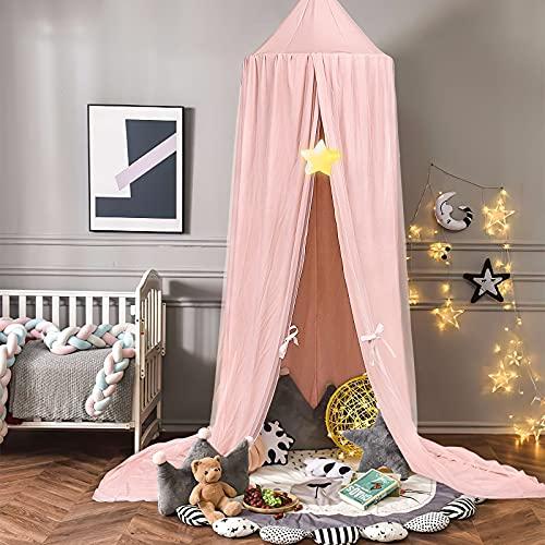 Dosel de cama de princesa con pompones Colgante de gasa Mosquitera para niños Castillo al aire libre de interior Tienda de juegos Tienda colgante Casa Decoración Rincón de lectura - Rosa