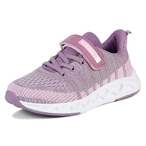 Laufschuhe Kinder Mädchen Sportschuhe Atmungsaktiv Leicht Turnschuhe Klettverschluss Outdoor Fitnessschuhe Sneakers für Gym Indoor Unisex-Kinder(Violett.YF622,34 EU)