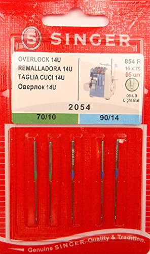 Singer Serger Ball Point Needles - Size 10 & 14
