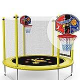 ZAQI Trampoline muet avec Cerceau de Basket-Ball et Filet de sécurité, Trampolines pour Enfants avec Salle de Sport et Exercice en intérieur, avec poignée, 250 kg