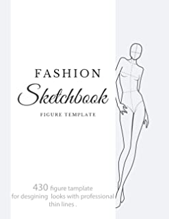 fashion sketchbook figure template: 430 Large Female Figure Template for quickly & easily Sketching Your Fashion Design St...