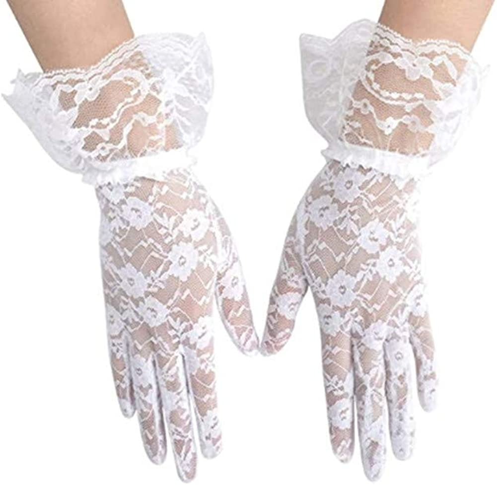 Girls White Lace Gloves Women Ladies Elegant Short Sun Protection Lace Gloves, Princess Dress Gloves for Wedding Dinner Party