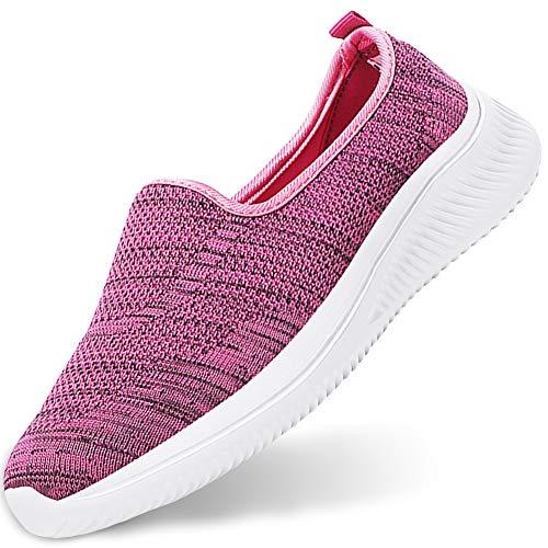 Gaatpot Damen Leichteshuhe Mesh Atmungsaktiv Sneaker Slip On Walkingschuhe Sportshuhe Freizeit Laufschuhe Indoor Outdoor Shuhe Pink 41.5/42EU=42CN