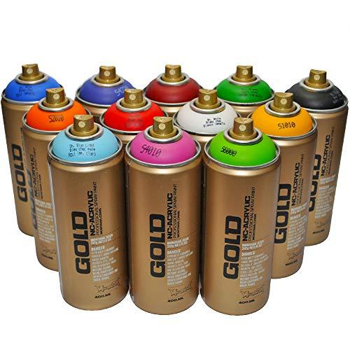 Montana Gold Premium Spray de pintura 400ml principales colores conjunto de 12