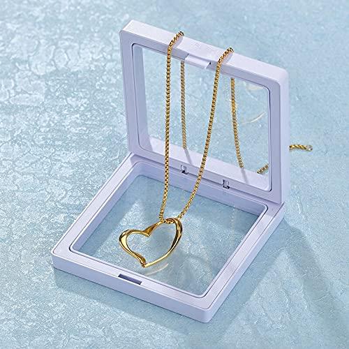 LANL Expositor de suspensión transparente D Álbumes marco flotante Mostrar caso joyería caja de regalo para collar soporte de almacenamiento para mujeres caja de recuerdo del día de San Valentín