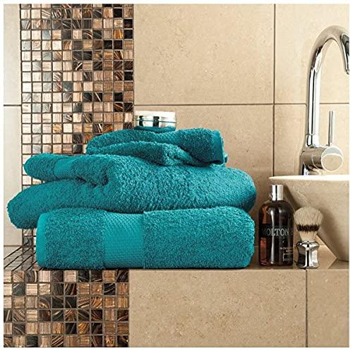 Gaveno Cavailia Juego de baño Resistente a la decoloración, 700 g/m², Toalla de baño Extra Absorbente, 100% algodón, Egipcio, Verde Azulado, 4 Unidades de Mano