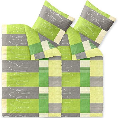 CelinaTex Enjoy Bettwäsche 135 x 200 cm 4teilig Baumwolle Bettbezug Seersucker Ellen Streifen Kreise Grau Grün Weiß
