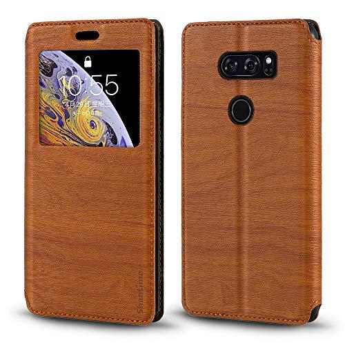 Capa para LG V30, capa de couro de grão de madeira com porta-cartão e janela, capa flip magnética para LG V30 Plus