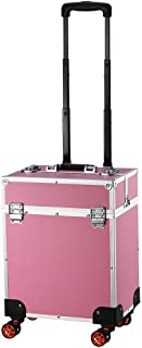 Rolling Makeup Train Cases with 4 Caster/Wheel, 4 Tray, Cosmetic Organizer Box - Cosmetic Make Up Carrier with 2 Lock, Adjustable Dividers for Studio Artist, Stylist (Color : Pink)