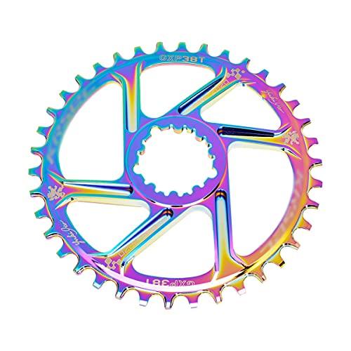 NgMik Anillos de Cadena de Carretera Accesorios para Bicicletas De Montaje Directo 32T 34T 36T 38T Anillo De Cadena De Ancho Ultraligero De Alta Resistencia (Color : Rainbow, Size : 38T)