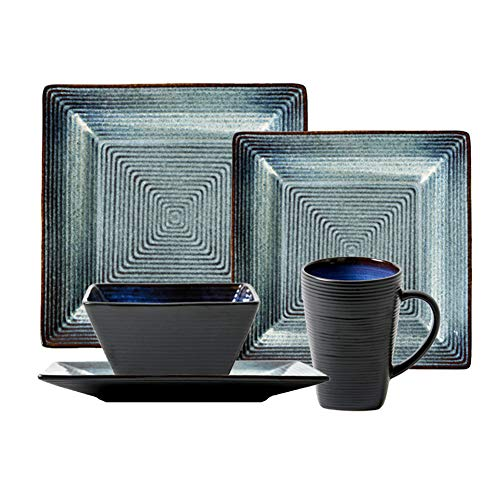 XLNB Vajilla tradicional de cerámica, juego de vajilla cuadrada vintage con 8 platos, 4 cuencos y 4 tazas, combinación completa de porcelana, servicio para 4 personas, combinación de 16 piezas