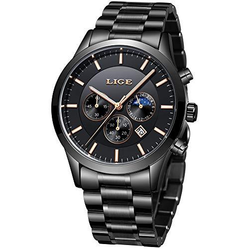 Herren Uhren Quartz 30 M Wasserdichtes, Lässige Chronograph Uhren, Business Uhren Kalender, Männer Militär Schwarz Edelstahl Armbanduhr