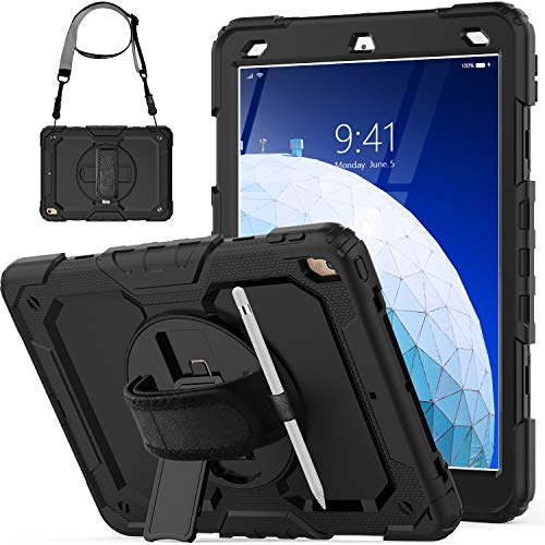 SEYMCY Case for iPad Air 3 10.5 2019 & iPad Pro 10.5 2017 with Pencil Holder, Full Protection Shockproof Case with [360 Rotating Handstrap] Screen Protector for iPad Air 3/iPad Pro 10.5 2017, Black