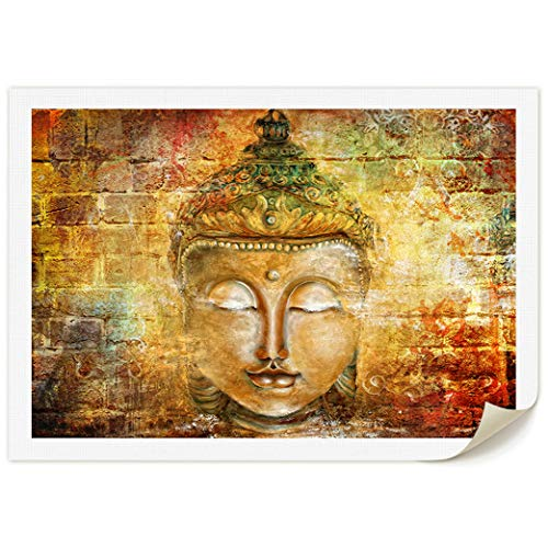 DAXIPRI Buddha Head Zen Wall Art Decor Home Office Decorations Prints on Canvas Hand Painted Canvas Buddhist Oil Paintings 1 Piece Warm Yellow Color for Living Room Bedroom 48' W x 36' H - NO Framed