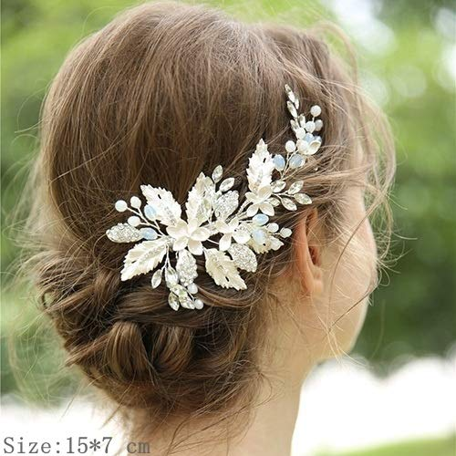 ASDAHSFGMN Bridal Hair Accessories Clip Headband Wedding Hair Accessories Rhinestone Flower Bridal Hair Accessories Tiara Headband Head Jewelry (Metal color : 15)