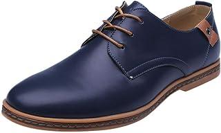riou Zapatos Casuales de Hombre con Cordones Zapatos de Negocios Zapatos Oxford Moda Cuero Estilo Británico Sneakers Negro...