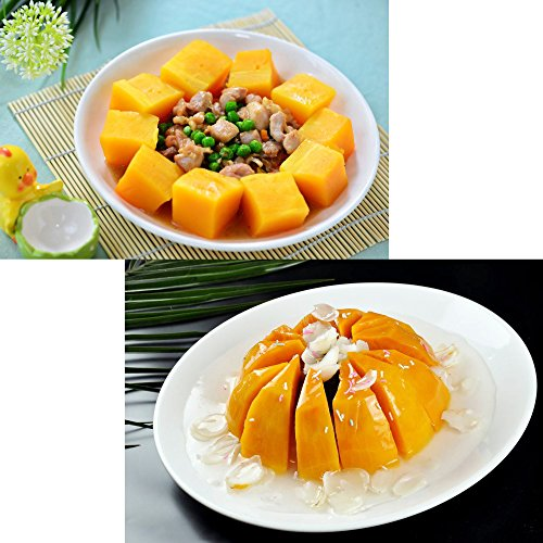 Sugar Pumpkin 25 Seeds Cushaw Squash Melon Long Yellow Garden Vegetable Organic Chinese Fresh Herb Climbing Seeds for Planting outdoor for Cooking Dish Soup Easy To Grown (Long Pumpkin Seeds)