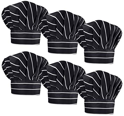 LilMents 6 Pack Chef Hat Set Elastic Baker Kitchen Catering Cooking Chefs Hats (Pinstriped)