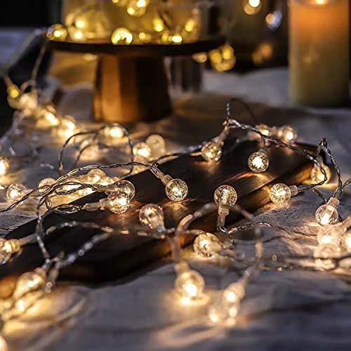 BANCELI Cadena luminosa solar – 30 LED 6,5 m, luces decorativas solares impermeables iluminación para Navidad, luz solar esférica de cristal para jardín, patio, árboles (blanco cálido)