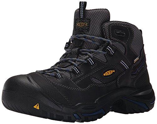 KEEN Utility Men's Braddock Mid Soft Toe Waterproof Work Shoe, Raven/Estate Blue, 10.5 Medium US