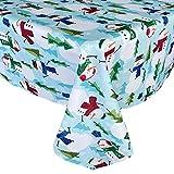 Newbridge Blue Snowman Fun Christmas Fabric Tablecloth, Cheerful Snowmen and Evergreen Tree Print Xmas Soil Resistant, No Iron Easy Care Tablecloth, 52 Inch x 70 Inch Oblong/Rectangle