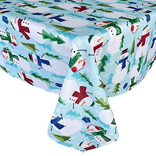 Newbridge Blue Snowman Fun Christmas Fabric Tablecloth, Cheerful Snowmen and Evergreen Tree Print Xmas Soil Resistant, No Iron Easy Care Tablecloth, 60 Inch x 102 Inch Oblong/Rectangle