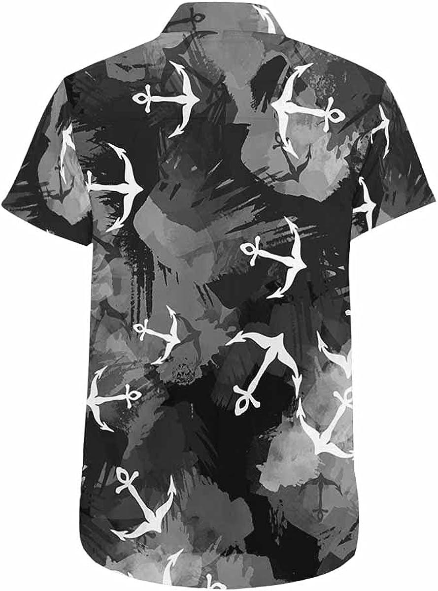 InterestPrint Birds Crane Cherry Blossom Men's Summer Beach Spread Collar Tops Hawaiian Casual Shirt