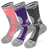 3 Pairs Walking Socks Womens, Ladies Hiking Socks Size 4-7, Wicking Terry Cushion Anti Blister Arch Support Athletic Socks for Outdoor Sport Working Running Trekking Cycling Camping Golf Gym