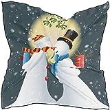 N/A Bufanda cuadrada rectangular de satén de seda para mujer romántica muñeco de nieve besando...