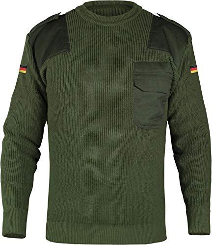 normani Herren Bundeswehr Pullover Original nach TL Winterpulloverullover mit Brusttasche und Deutschlandfahne Farbe Oliv Größe L/52