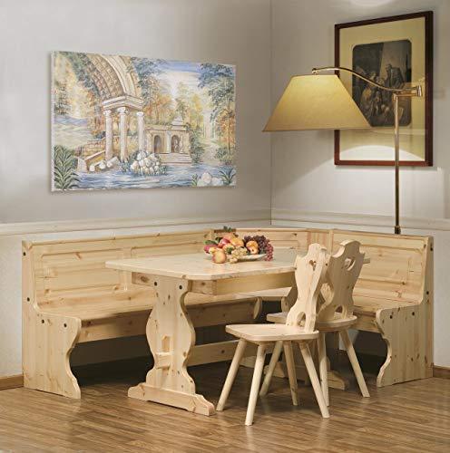 Arredamenti Rustici Eckbank Eckbankgruppe Bank Esstisch 2 Stühle Kiefer massiv - Farbe Natura
