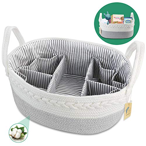 Baby Diaper Caddy Organizer - Extra Large Nappy Caddy Rope Nursery...