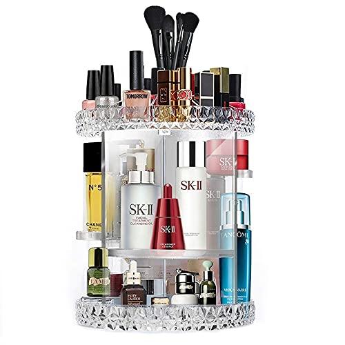 Sumlink Organizador de maquillaje, giratorio de 360 grados, ajustable, caja de almacenamiento de 6 capas, se adapta a pintalabios, brochas de maquillaje, perfumes y más, transparente