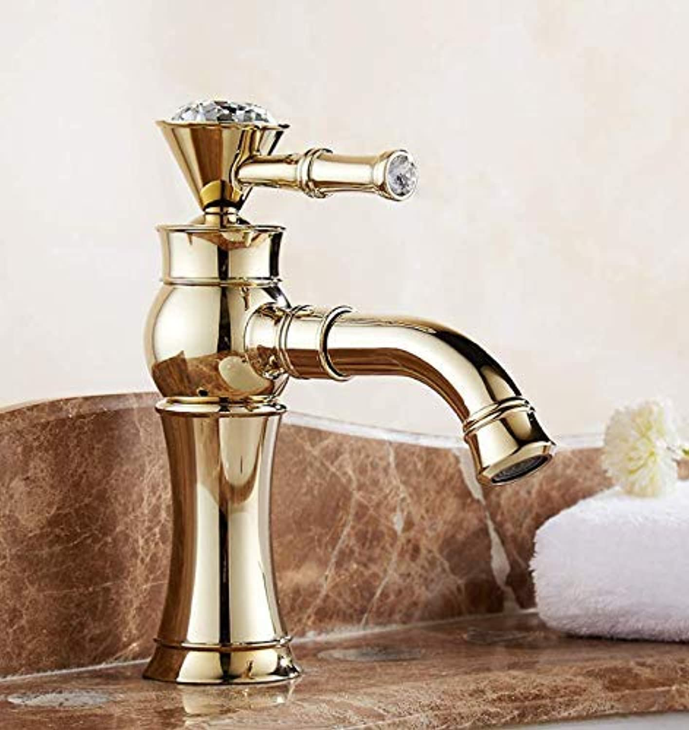 Oudan Taps golden Faucet 360 Degree redating Copper Faucet Mouth redating Hot And Cold Basin Faucet Taps (color   -, Size   -)