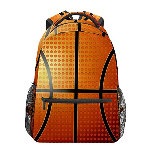 Mochila escolar de baloncesto con textura de piel de impresión casual de viaje, portátil, bolsa de lona para mujeres, niñas, niños, estudiantes, hombres adultos