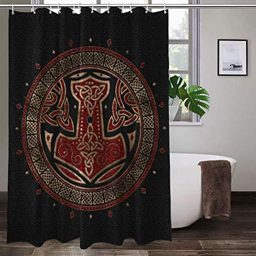 Cortina de ducha de tela con 12 ganchos, The Hammer Of Thor Black Red And Gold Print Decorativa cortina de baño lavable a máquina, 183 x 183 cm