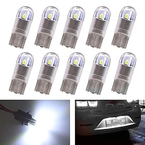 Biqing 10PCS T10 W5W LED Lampadine Bianco,12V 194 168 LED Wedge Luci Interne per Luci Targa LED Auto Lampadina Luci LED Posizione Cortesia Interne Targa Lampade