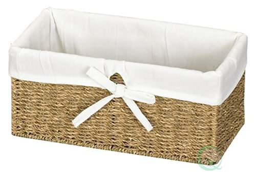 Vintiquewise(TM) Seagrass Shelf Basket Lined with White Lining