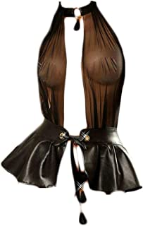 KHUFUZI Women's Sexy Clubwear Corset PU Leather Bodysuits Party Dress Nightwear Lingerie Gift for Girlfriend Black