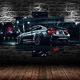 IKDBMUE Art Bilderskulptur 5 teilig Breite 150cm x Höhe 80cm Gemälde BMW M4 Supersportwagen Querschnitts auf Leinwand Exklusives Wandbild Moderne Fotografie für ihre Wand in vielen Größen